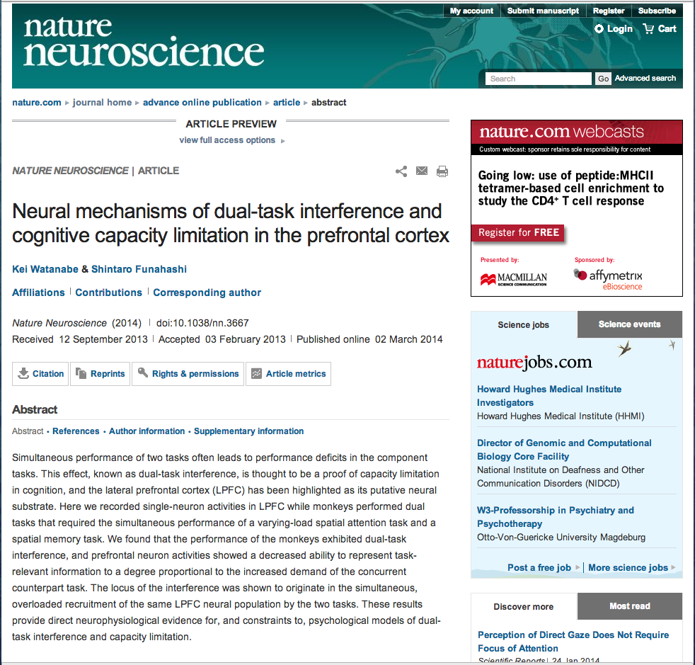 "Prof. Funahashi's paper published in ""Nature Neuroscience"""