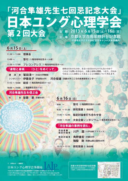 河合教授が日本ユング心理学会第2回大会でシンポジストとして登壇します