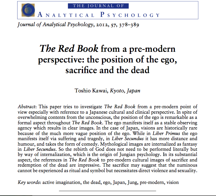 "The paper ""The Red Book from a pre-modern perspective: the position of the ego, sacrifice and the dead"" written by Prof. Toshio Kawai was published."