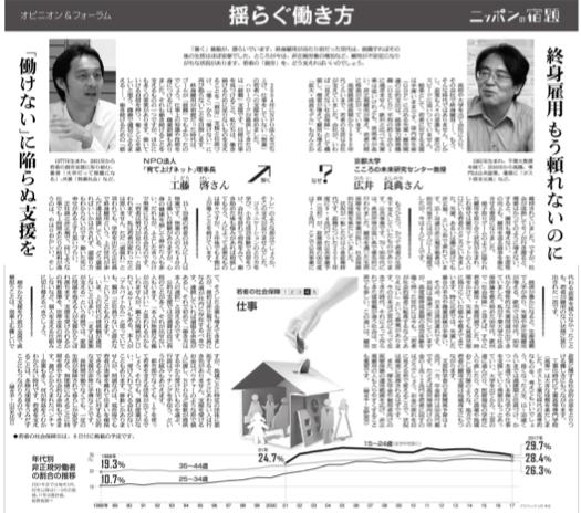 広井教授のインタビュー記事「若者の社会保障:揺らぐ働き方」が朝日新聞に掲載されました