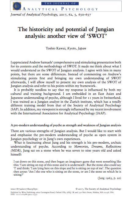 河合教授の論文が『Journal of Analytical Psychology』に掲載されました