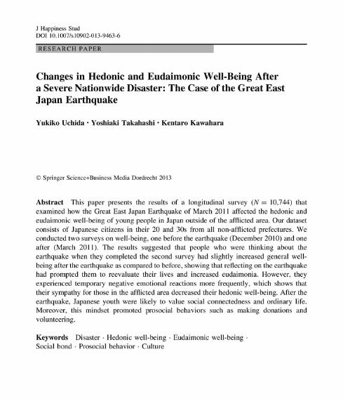 内田准教授の論文が『Journal of Happiness Studies』『季刊・環境研究』に掲載されました
