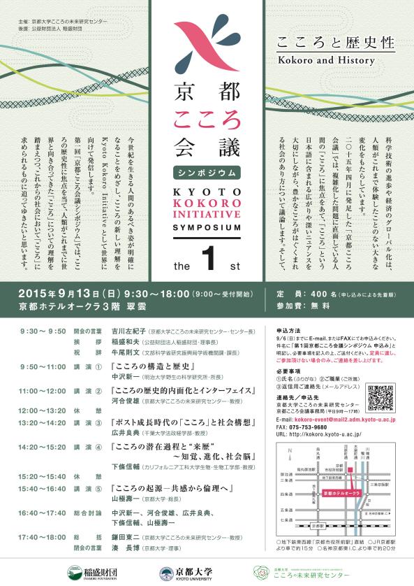 第1回京都こころ会議シンポジウム「こころと歴史性」を開催しました