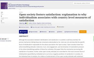 A Research Paper by Dr. Krys and Dr. Uchida et al. Published in <span>The Journal of Positive Psychology</span>